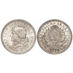 Argentina, 50 centavos, 1882, 2 in normal position.