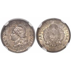 Argentina, 10 centavos, 1882, high 2, encapsulated NGC MS 61.