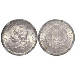 Argentina, 10 centavos, 1883, encapsulated NGC MS 61.
