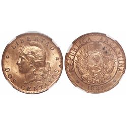 Argentina, copper 2 centavos, 1884, 4 tilted left, encapsulated NGC MS 64 RB, finest known in NGC ce