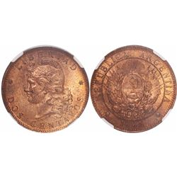 Argentina, copper 2 centavos, 1885, encapsulated NGC MS 63 RB.