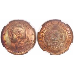 Argentina, copper 2 centavos, 1890, low 9, encapsulated NGC MS 63 RB, tied for finest known in NGC c