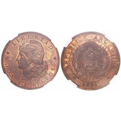 Argentina, copper 2 centavos, 1891 low 9 / regular 9, encapsulated NGC MS 62 RB.