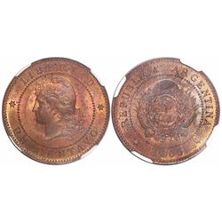 Argentina, copper 1 centavo, 1885, encapsulated NGC MS 64 RB, tied for finest known in NGC census.