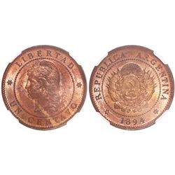 Argentina, copper 1 centavo, 1894, low 9 and far 4, encapsulated NGC MS 63 RB, tied for finest known