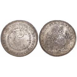 Azores, 1200 reis, crowned-GP countermark (1887) on a Bahia, Brazil (Empire), 960 reis, Pedro I, 182