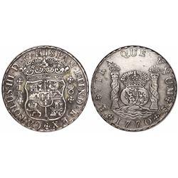 Potosi, Bolivia, pillar 8 reales, Charles III, 1770JR, • after king's name.
