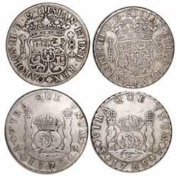 Lot of 2 Potosi, Bolivia, pillar 8 reales, Charles III, 1769JR (round 9 over fancy 9) and 1770JR.