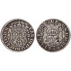 Potosi, Bolivia, pillar 2 reales, Charles III, 1768JR.