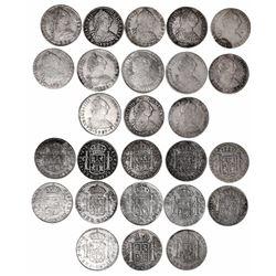 Lot of 13 Potosi, Bolivia, bust 8 reales, Charles III, dates as follows: 1774JR, 1777PR, 1778PR, 177