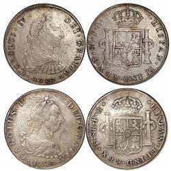 Lot of 2 Potosi, Bolivia, bust 8 reales, Charles IV transitional (bust of Charles III, ordinal IV):