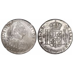 Potosí, Bolivia, bust 8 reales, Charles IV, 1793PR, encapsulated NGC MS 63, finest known in NGC cens