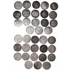 Lot of 18 Potosi, Bolivia, bust 8 reales, Charles IV, dates as follows: 1791PR, 1792PR, 1793PR, 1794
