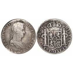 Potosi, Bolivia, bust 8 reales, Ferdinand VII, 1824J, rare.