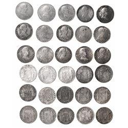 Lot of 15 Potosi, Bolivia, bust 8 reales, Ferdinand VII, dates as follows: 1808PJ, 1809PJ, 1813PJ, 1