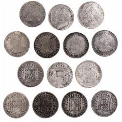 Lot of 7 Potosi, Bolivia, bust 4 reales, Charles III, dates as follows: 1773JR, 1774JR, 1775JR, 1776