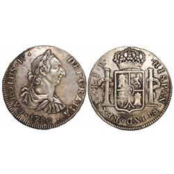 Potosi, Bolivia, bust 4 reales, Charles IV transitional (bust of Charles III, ordinal IV), 1790PR.
