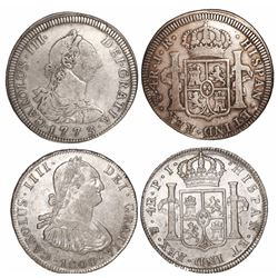 Lot of 2 Potosi, Bolivia, bust 4 reales of Charles III and IV: 1773JR and 1808PJ.