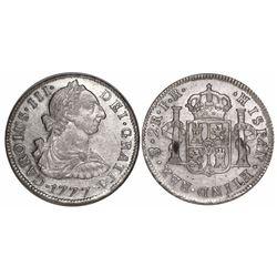 Potosi, Bolivia, bust 2 reales, Charles III, 1777PR.