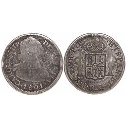 Potosi, Bolivia, bust 2 reales, Charles IV, 1801PP, unique error or trial strike.