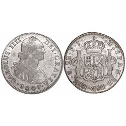 Potosi, Bolivia, bust 2 reales, Charles IV, 1807PJ.