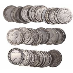 Large lot of 39 Potosi, Bolivia, bust 1 reales, Charles III through Ferdinand VII, various dates.