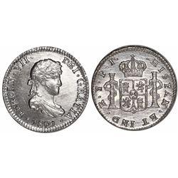 Potosi, Bolivia, bust 1/2 real, Ferdinand VII, 1821PJ.