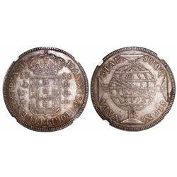 "Brazil (Bahia mint), 960 reis, Joao Prince Regent, 1810-B, ""REGENES"" variety, struck over a Spanish"