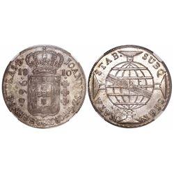 Brazil (Bahia mint), 960 reis, Joao Prince Regent, 1810-B, encapsulated NGC AU 58.