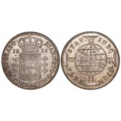 Brazil (mint uncertain), 960 reis, Joao Prince Regent, 1816, struck over a Spanish colonial bust 8 r