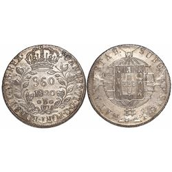 Brazil (Bahia mint), 960 reis, Joao VI, 1820-B, struck over a Madrid, Spain, bust 8 reales of Ferdin