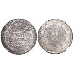 Brazil (Bahia mint), 960 reis, Joao VI, 1821-B, struck over a Seville, Spain, bust 8 reales, encapsu