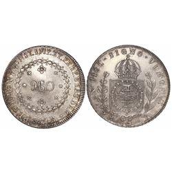 "Brazil (Rio mint), 960 reis, Pedro I, 1824-R, struck over a Santiago, Chile, ""volcano"" peso (rare ho"