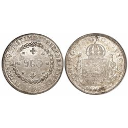Brazil (Bahia mint), 960 reis, Pedro I, 1824-B, struck over a Spanish colonial bust 8 reales of Ferd