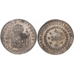 Brazil (Rio mint), 960 reis, Pedro I, 1826-R, struck over a Spanish colonial bust 8 reales dated 181