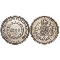 Brazil, 1200 reis, Pedro II, 1840/39, rare.
