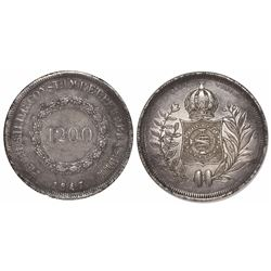 Brazil, 1200 reis, Pedro II, 1847, second-style wreath.