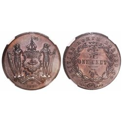 British North Borneo, copper 1 cent, 1891-H, encapsulated NGC MS 66 BN, tied for second finest known