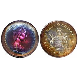 British Columbia, Canada, specimen 1 dollar, 1971, encapsulated PCGS SP67 with WINGS gold sticker, e