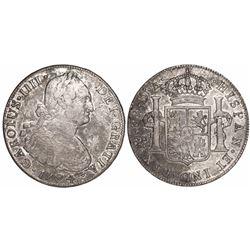 Santiago, Chile, bust 8 reales, Charles IV, 1794DA.