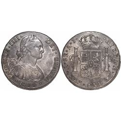 Santiago, Chile, bust 8 reales, Charles IV, 1800AJ.
