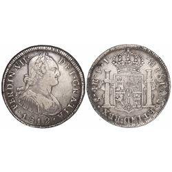 Santiago, Chile, bust 4 reales, Ferdinand VII (bust of Charles IV), 1812FJ.