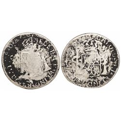 Santiago, Chile, bust 2 reales, Charles III, 1788DA, flipover double-strike (unique error).