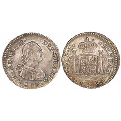 Santiago, Chile, bust 1/2 real, Ferdinand VII, 1813FJ.