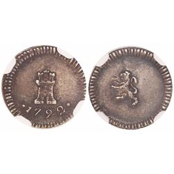 Santiago, Chile, 1/4 real, 1792, Charles IV, no assayer or mintmark, encapsulated NGC AU 50, finest