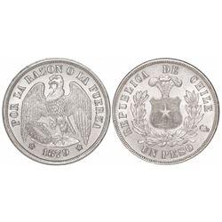 Santiago, Chile, 1 peso, 1879.