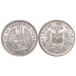 Santiago, Chile, 1 peso, 1882.