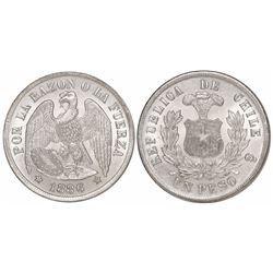 Santiago, Chile, 1 peso, 1886.