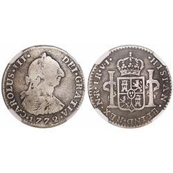 Bogota, Colombia, bust 1 real, Charles III, 1772V•J, encapsulated NGC VG 10, rare.