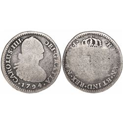 Bogota, Colombia, bust 1 real, Charles IV, 1794/3JJ, very rare.